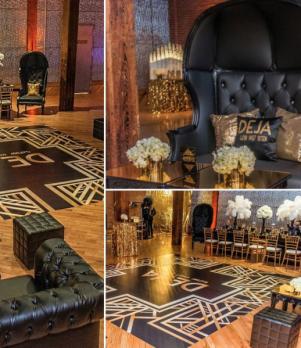 Black & Gold Lounge Decor