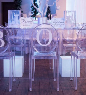 Ghost Table with Small White Cubes & Branded Ghost Chairs