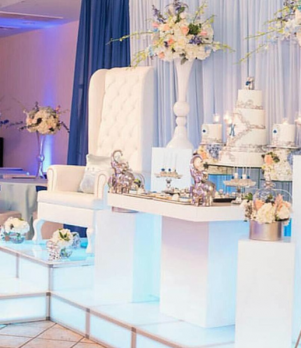 Illuminated Platform, White Tufted Throne Chair, White Acrylic Cake Table & White Pedestals