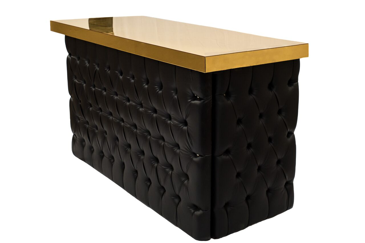Beau Black Tufted U2013 Gold Top Bar