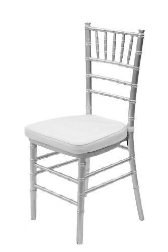 Silver - White Cushion Chair