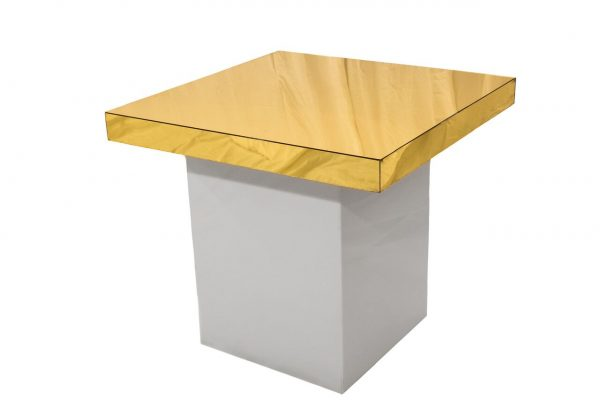 Small White Table - Gold Top