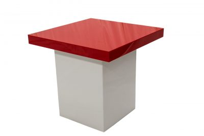 Small White Table - Red Top