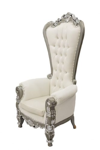 White & Silver Throne Chair
