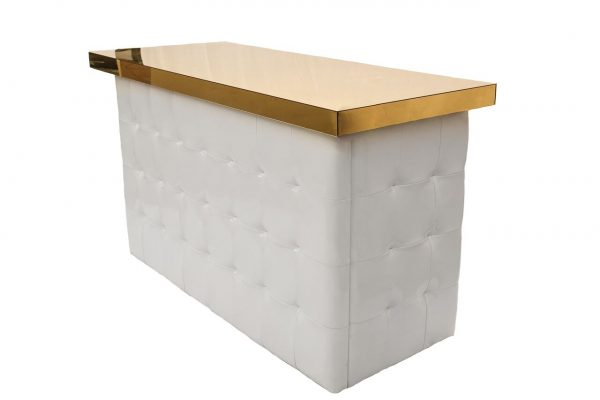 White Tufted Bar - Gold Top