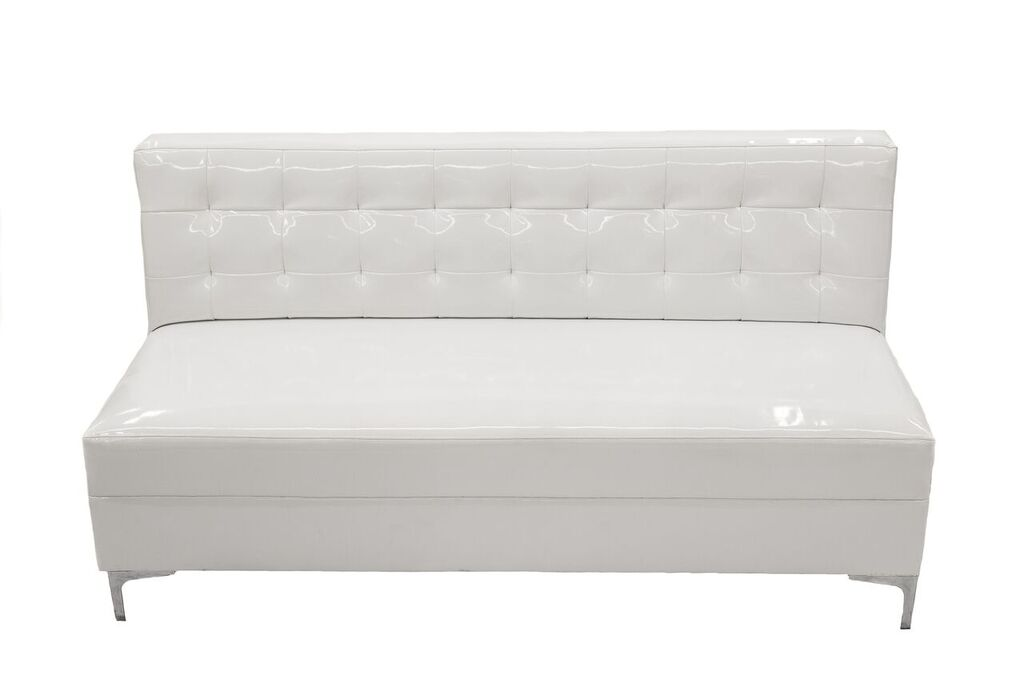 White Armless Patent Leather Sofa