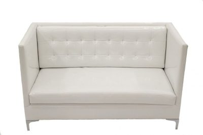 White High Back Patent Leather Sofa