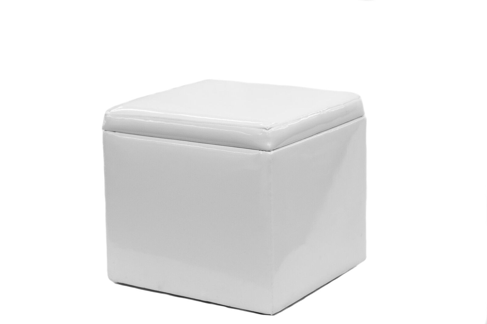 White Patent Leather Ottoman